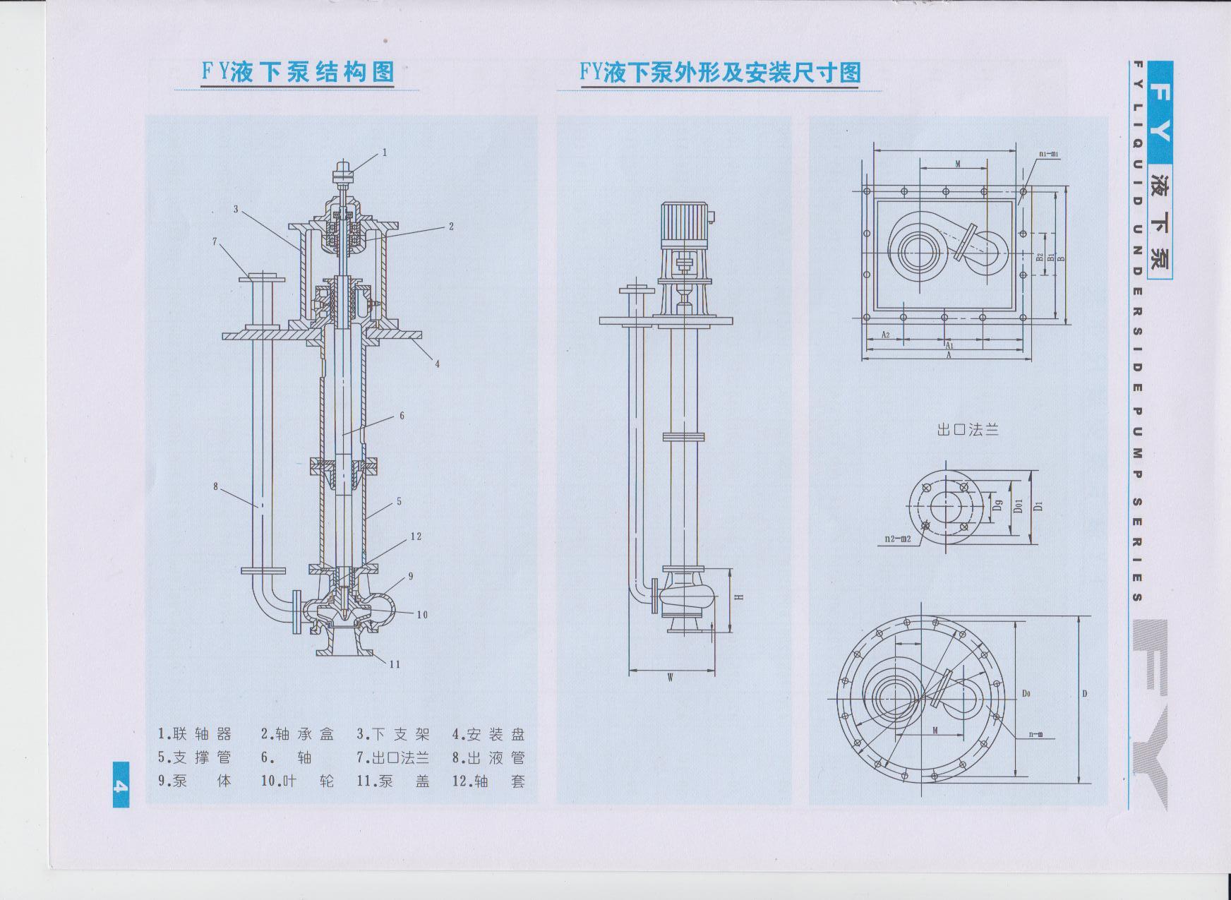 玻璃钢液下泵结构安装图(说明书)