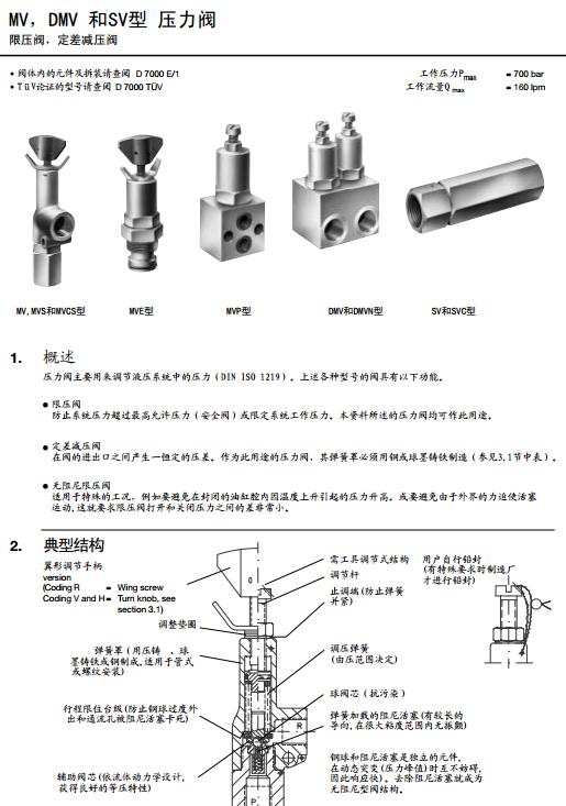 哈威限压阀防止系统压力超过最高允许压力(安全阀)或限定系统工作压力图片
