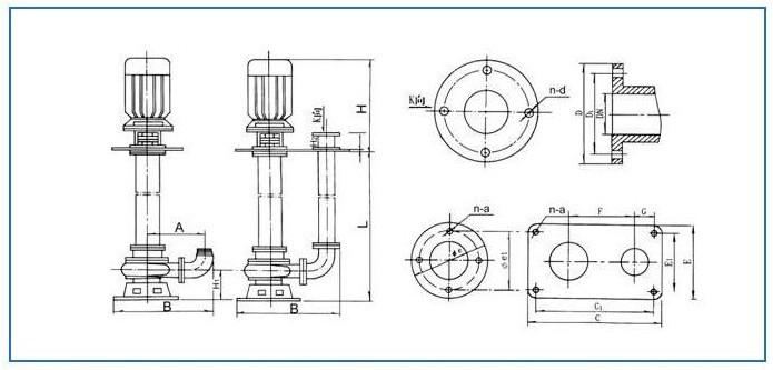 液下式排污泵安装尺寸图