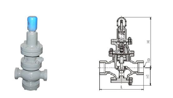 本系列减压阀属于先导活塞式减压阀。由主阀和导阀两部分组成。主阀主要由阀座、主阀盘、活塞、缸套、弹簧等零件组成。导阀主要由阀座、阀瓣、膜片、弹簧、调节弹簧等零件组成。通过调节调节弹簧压力设定出口压力,利用膜片传感出口压力变化,通过导阀启闭驱动活塞调节主阀节流部位过流面积的大小,实现减压稳压功能。 内螺纹活塞式蒸汽减压阀主要用于蒸汽管路,起减压稳压作用。 主要技术参数和性能指标