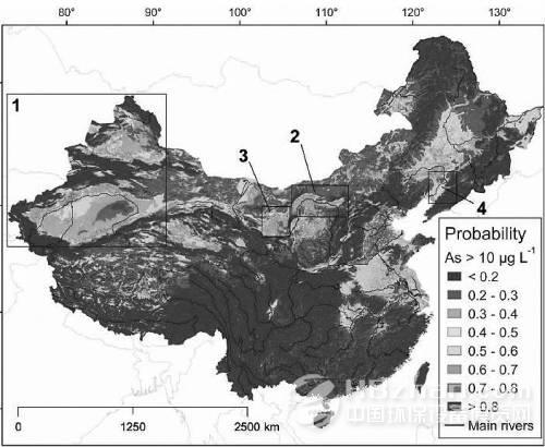 中国地下水砷污染风险地图